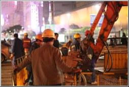 night road construction