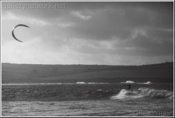 kite surfer-b+w