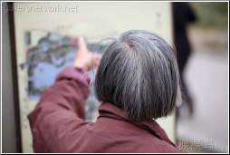 old lady checks map